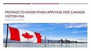Mistakes to Avoid When Applying For Canada Visitor Visa