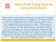 Select Hindi Typing Tutor for Government Exams