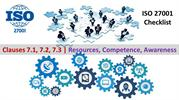 ISO 27001 Checklist - Resources,Competence,Awareness - clause 7.1- 7.3