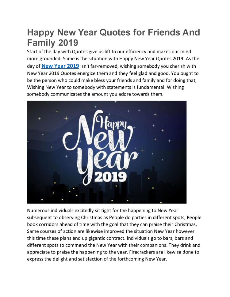 Happy New Year Quotes For Friends And Family 2019 Authorstream