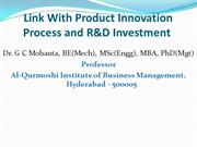 Link With  Product Innovation Process &  R&D Investment
