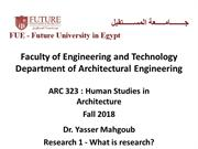 ARC 323 Human Studies in Architecture Fall 2018-Lecture 2-What is Rese