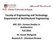 ARC 323 Human Studies in Architecture Fall 2018-Lecture 3-Literature R