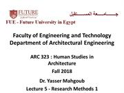ARC 323 Human Studies in Architecture Fall 2018-Lecture 5-Research Met
