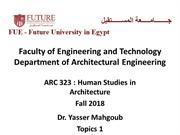 ARC 323 Human Studies in Architecture Fall 2018-Lecture 8-Topics 1