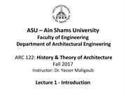 ASU History and Theory-Lecture 2a-Introduction 30-9-2017