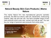 Natural Beauty Skin Care Products - Mama Nature
