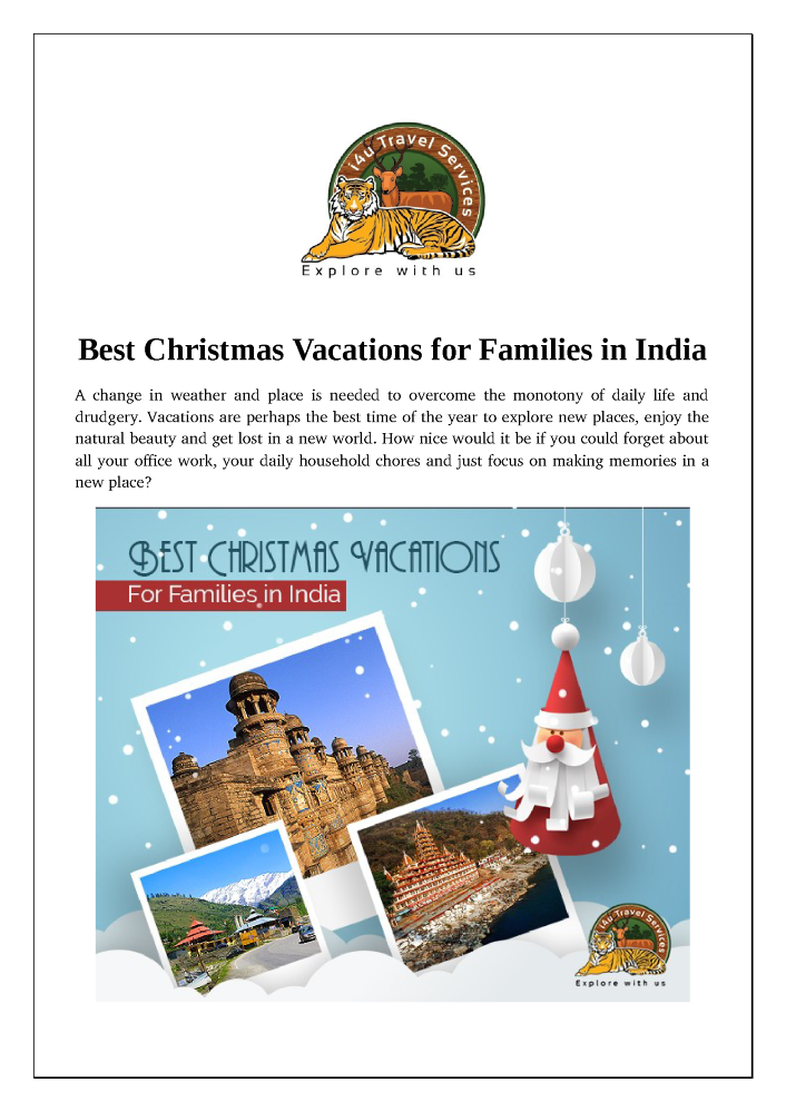 Best Christmas Vacations.Best Christmas Vacations For Families In India Authorstream