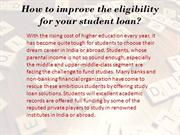 How to improve the eligibility for your student PPT