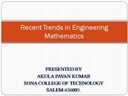 recent trends in eng math
