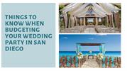 Things to Know When Budgeting Your Wedding Party in San Diego