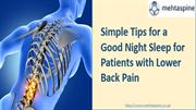 Simple Tips for a Good Night Sleep for Patients with Lower Back Pain