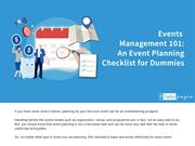 Events Management 101: An Event Planning Checklist for Dummies