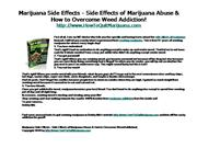 Marijuana Side Effects - Side Effects of