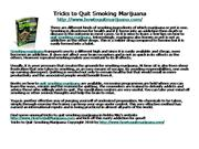 Tricks to Quit Smoking Marijuana