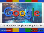 The Important Google Ranking Factors