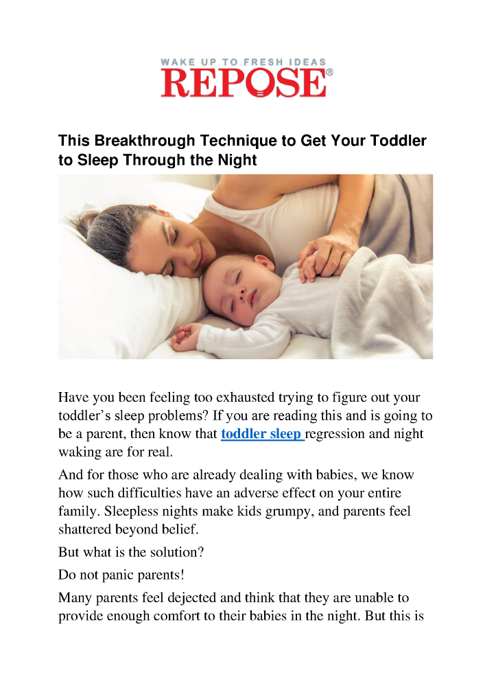 efe5edfb4238 This Breakthrough Technique to Get Your Toddler to Sleep Through t ...