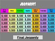 Jeopardy 7th Grade PSSA Review