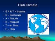 Club Climate - Short Version (E.A.R.T.H)