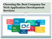 Choosing the Best Company for Web Application Development Services