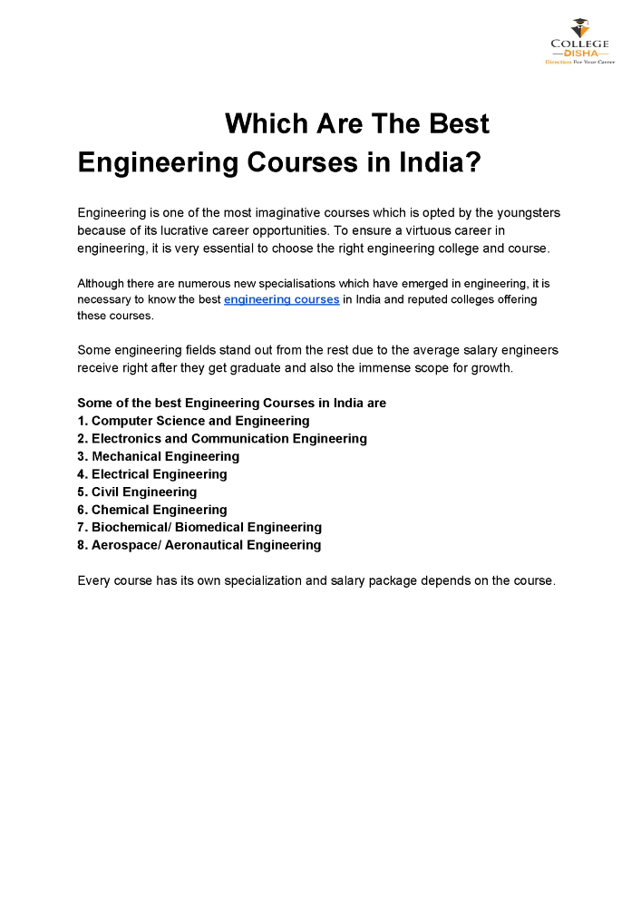 Which are the Best Engineering Courses in India |authorSTREAM