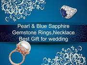 Pearl & Blue Sapphire Gemstone Rings,Necklace Best Gift for wedding
