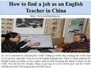 How to find a job as an English Teacher in China