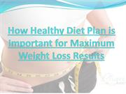 How Healthy Diet Plan is Important for Maximum Weight Loss Results