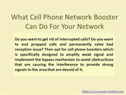 What Cell Phone Network Booster Can Do For Your Network