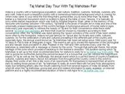 Taj Mahal  Day Tour With Taj Mahotsav Fair