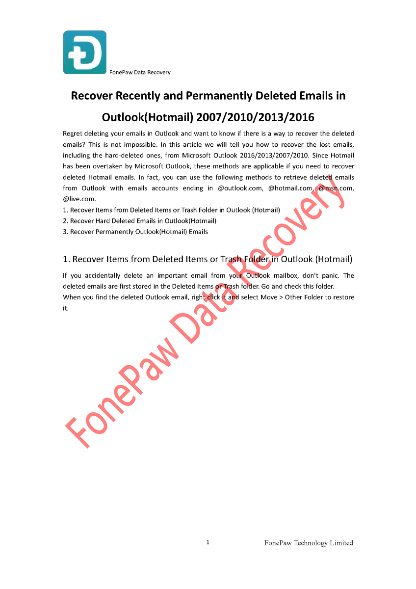 Recover Recently And Permanently Deleted Emails in Outlook(Hotmail..  |authorSTREAM