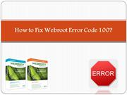 How to Fix Webroot Error Code 100