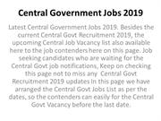 Central Government Jobs 2019
