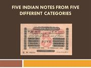 Five Indian Notes From Five Different Categories