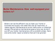 Boiler Maintenance- How well equipped your boiler is?