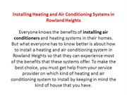Installing Heating and Air Conditioning Systems in Rowland