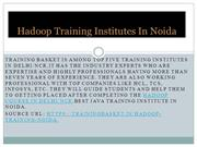 Hadoop Training Institutes In Noida