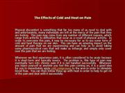 The Effects of Cold and Heat on Pain
