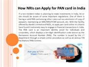 How NRIs can Apply for PAN card in India