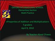 Properties of Addition and Multiplicatio