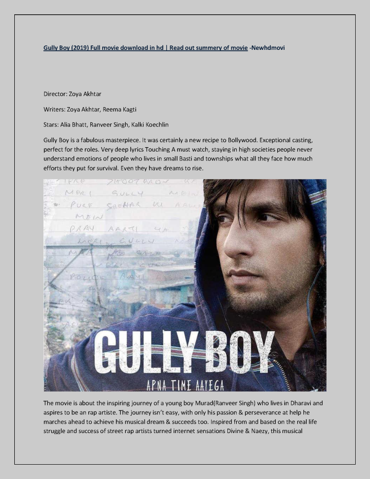 Gully Boy (2019) Full Movie Download in Hd | Newhdmovi Com |authorSTREAM