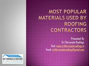 Most Popular Materials Used by Roofing Contractors in Chennai