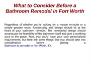What to Consider Before a Bathroom Remodel in Fort Worth