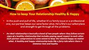 How to keep Your Relationship Healthy & Happy