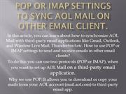 POP or IMAP Settings to Sync AOL Mail on other email client