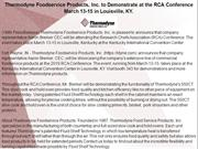 Thermodyne Foodservice Products, Inc. to Demonstrate at the RCA