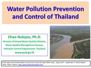 Water Pollution Prevention and Control of Thailand by Dr.Chao Nokyoo