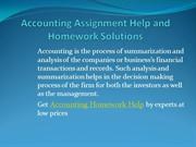 Accounting Assignment Help Accounting Homework Help