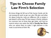 Tips to Choose Family Law Firm's Selection