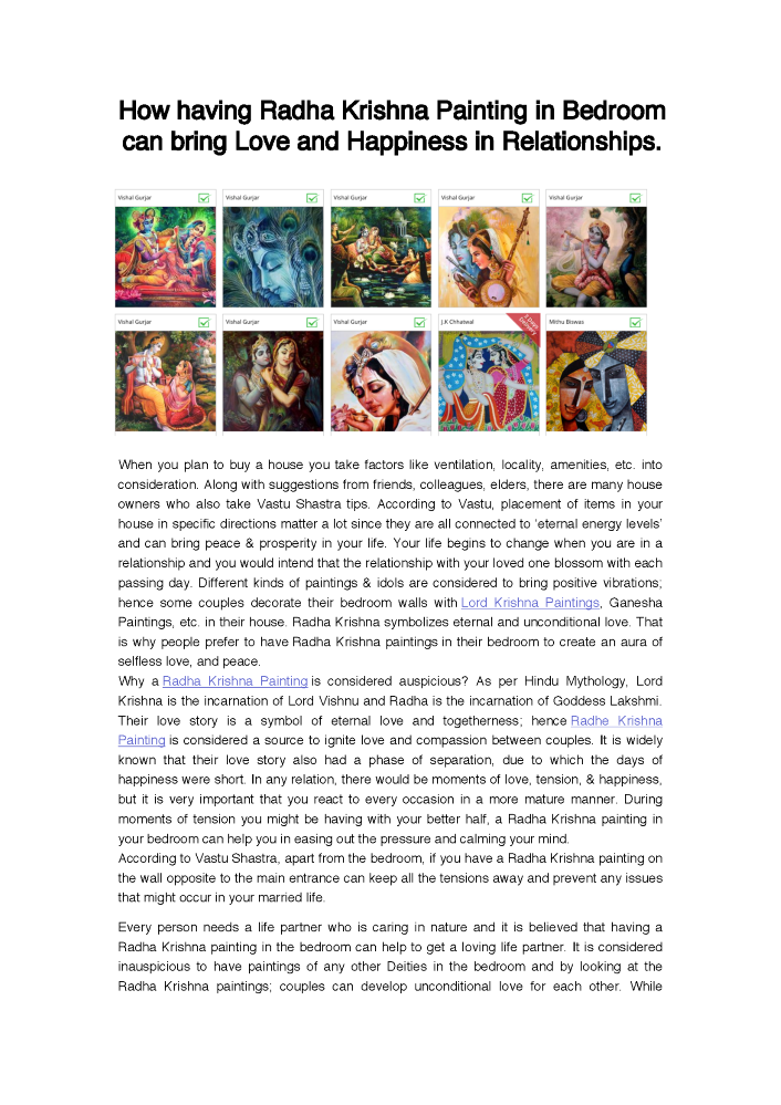 How Having Radha Krishna Painting in Bedroom Can Bring Love And Ha..  |authorSTREAM